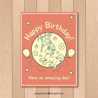 현대적인 스타일의 유니콘 생일 축 하 카드
