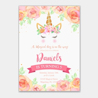 Birthday card with unicorn and pink floral