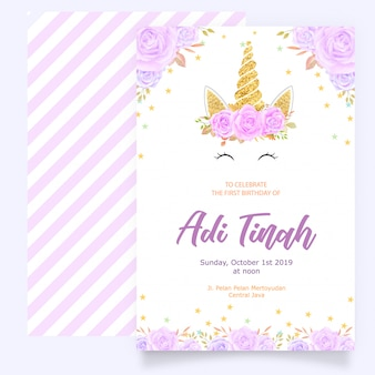 Birthday card with unicorn and purple floral