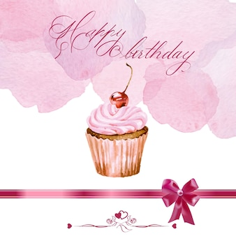 Birthday card with watercolor cupcake. vector illustration.
