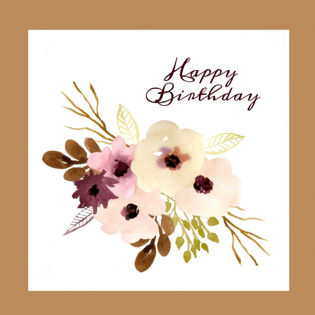 Birthday card with watercolor flowers
