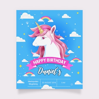 Birthday card with a white unicorn and gold glitter