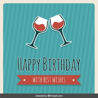 Birthday card with wine glasses