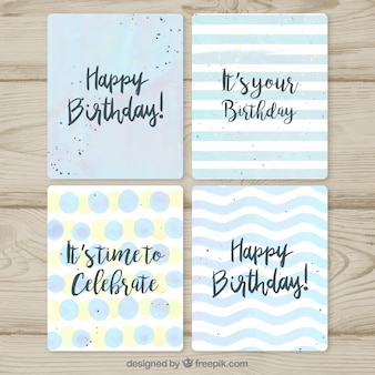 Collezione di carte di compleanno disegnata in mano stile disegnato
