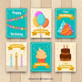 평면 스타일의 생일 카드 컬렉션