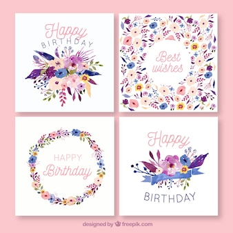 Birthday cards collection in watercolor style