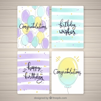 Birthday cards collection with balloons
