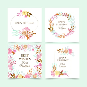 Birthday cards collection with flowers set