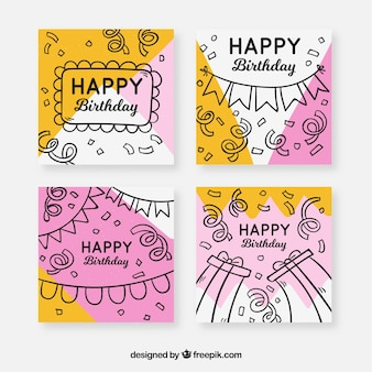 Birthday cards collection with party elements