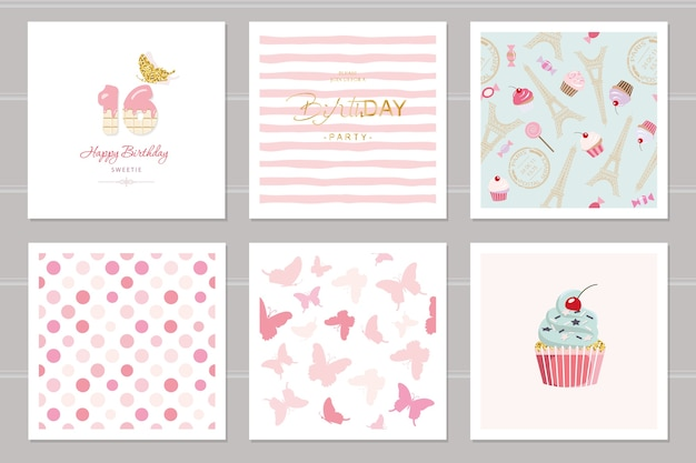 Birthday cards and seamless pattern set
