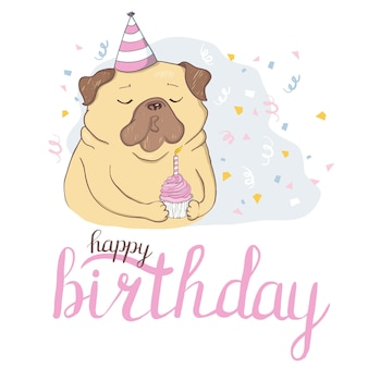 Birthday cards set with cute cartoon dogs.