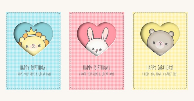 Birthday cards with cartoon animals premium