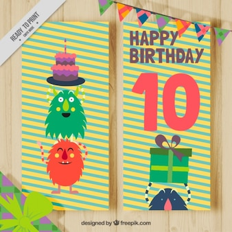 귀여운 몬스터가있는 생일 카드