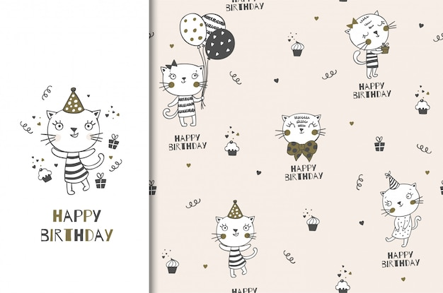 Birthday cartoon cute kitty character. greeting dard and seamless pattern set. hand drawn wrapping paper design