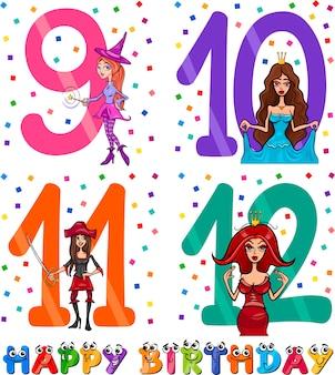 소녀를위한 생일 만화 디자인
