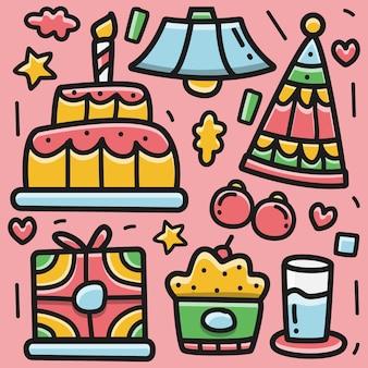 생일 만화 귀엽다 낙서 디자인 일러스트 레이션
