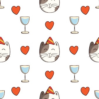 Birthday cat with drink and love in seamless pattern with colored doodle style on white background