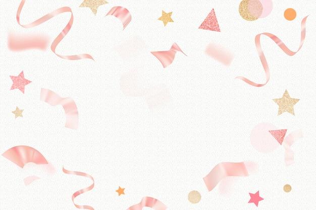 誕生日のお祝いの背景、ピンクのキラキラリボンフレームデザインベクトル
