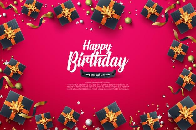 Birthday celebration background with black gift box