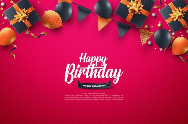 Birthday celebration background with gift box and birthday flag