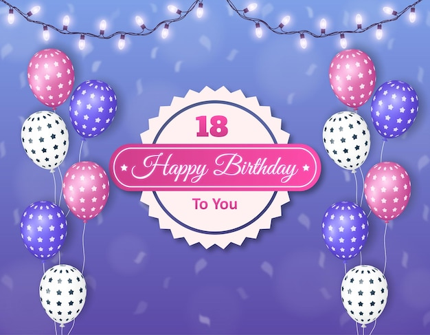 ライトと紙吹雪と誕生日のお祝いの背景