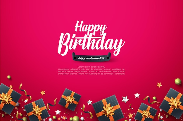 Birthday celebration background with realistic 3d gift box