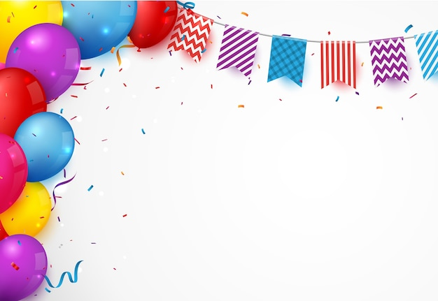 Баннер празднования дня рождения с разноцветными шарами и конфетти