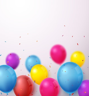 Birthday celebration banner with colorful balloons and confetti