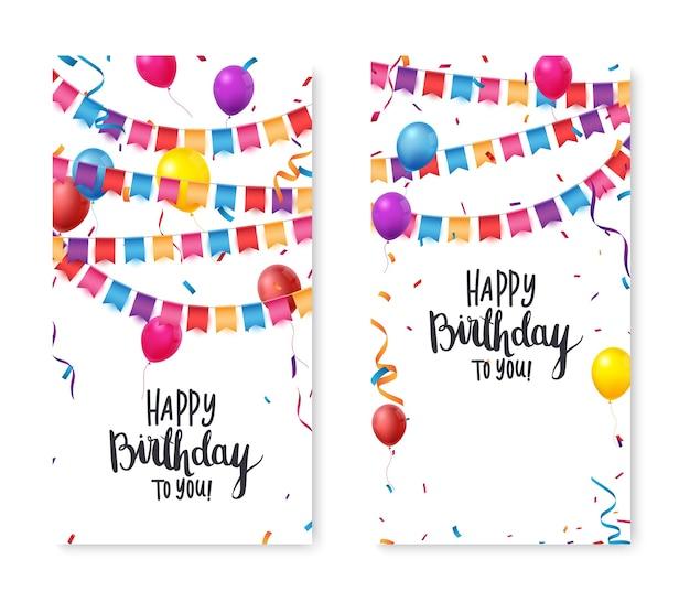 Баннер празднования дня рождения с красочными конфетти и воздушными шарами Premium векторы