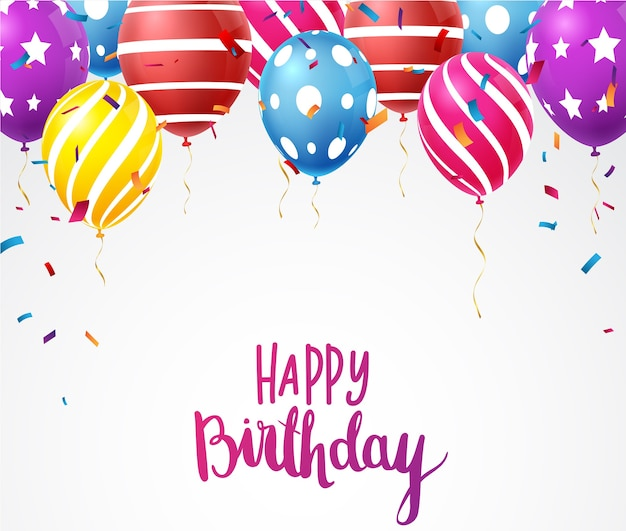 Birthday celebration banner with colorful confetti and balloons