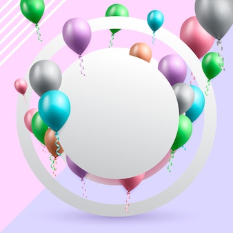 Birthday celebration card with balloons