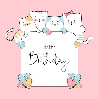 Birthday celebration card with cute baby cats drawing