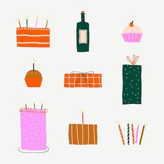 생일 축 하 귀여운 스티커 낙서 세트