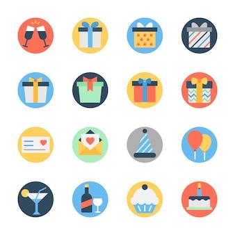 Birthday celebration flat rounded icon