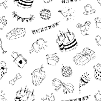 Birthday celebration seamless pattern with doodle style