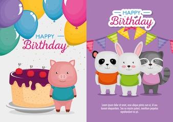 Birthday celebration set icons vector illustration design