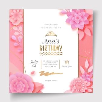 Birthday celebration squared flyer template