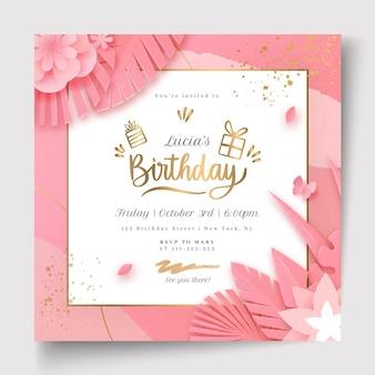 Birthday celebration squared flyer