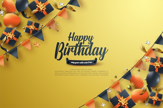 Birthday celebration with black gift box and colorful flag
