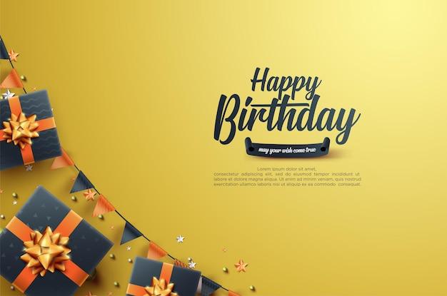 Birthday celebration with realistic gift box