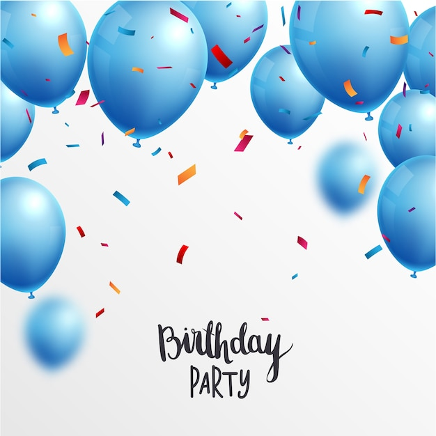 Birthday celebrations banner with blue balloons and confetti