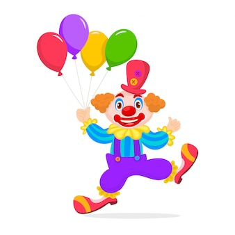 Birthday child clown with balloons bunch