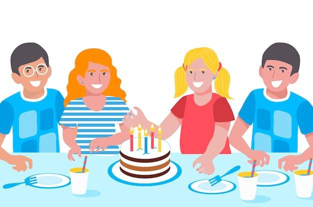 誕生日の子供たち。かわいい女の子と男の子。幸せな笑顔の子供たち。誕生日会。甘いケーキ。