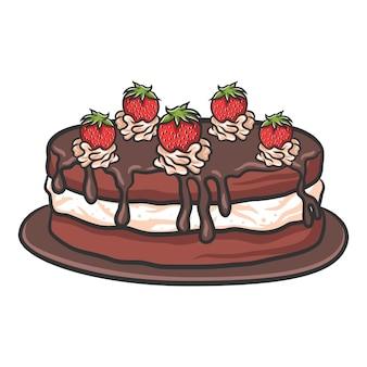 いちごのバースデーチョコレートケーキ
