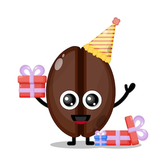 생일 커피 콩 귀여운 캐릭터 마스코트