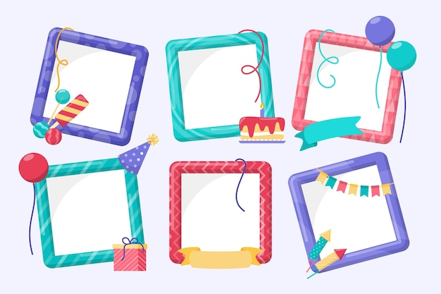 Birthday collage frame collection in flat design