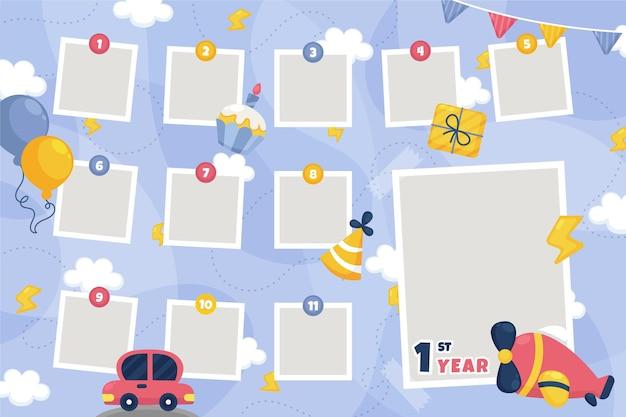 Collezione di cornici collage compleanno in design piatto