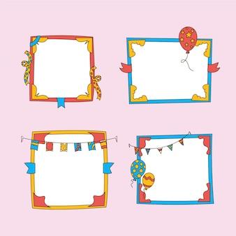 手描きの誕生日コラージュフレームコレクション