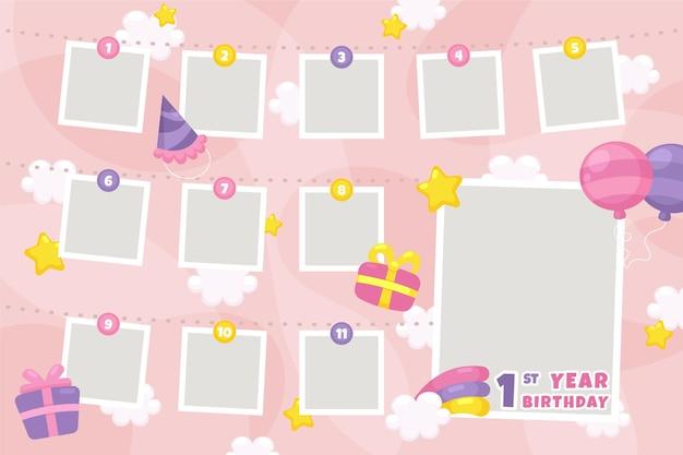Коллекция коллажей на день рождения в плоском дизайне Бесплатные векторы