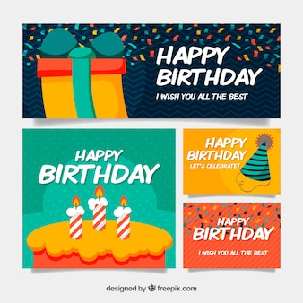 Birthday collection of greeting cards in flat design